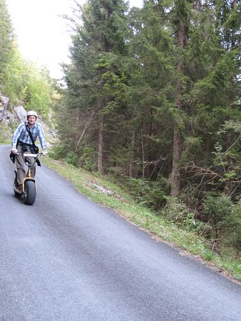 Riding a Monster Scooter to Isenfluh