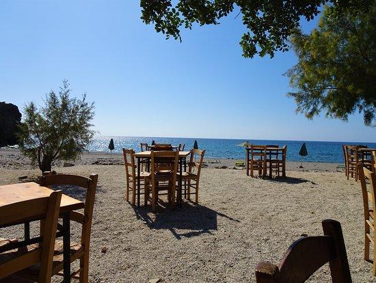 Rodakino, Greece: Entspannt im Schatten sitzen, aufs Meer schauen, was gutes essen und trinken....so schön kann das Leben sein