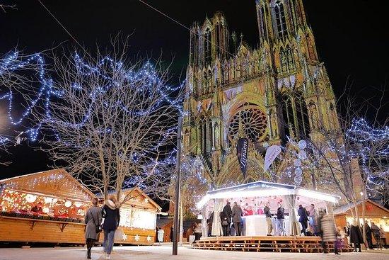 Dag op Champagne-kerstmarkt in Reims ...