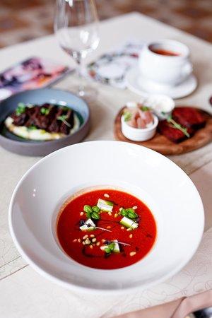 Суп из копченых томатов с брынзой