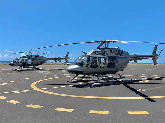 Doors-Off Hawaii Helicopter Tour of Kohala Valleys and Waterfalls: Chopper at the airport