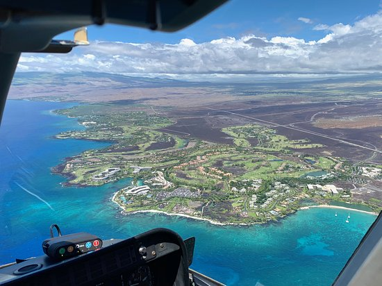 Doors-Off Hawaii Helicopter Tour of Kohala Valleys and Waterfalls: Aerial view of coastal hotels