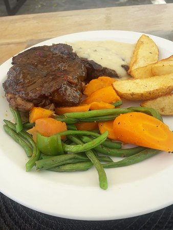 Steak with cooked veg