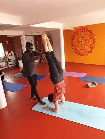 Adjustments to advanced asanas at Yogadarshan