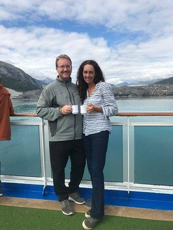 Royal Princess: Enjoying adult beverages and some glacier viewing!