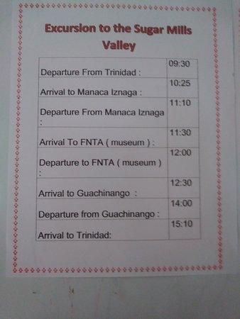 Trinidad, Cuba: Timetable