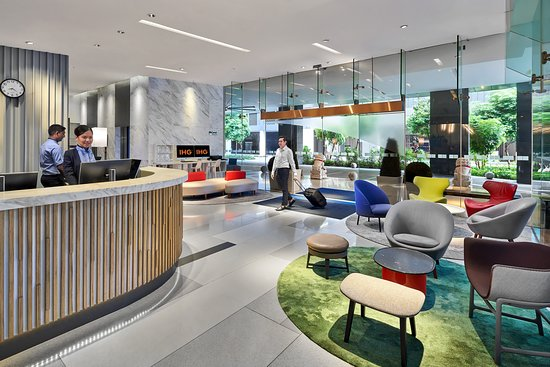 Bright and airy hotel lobby.