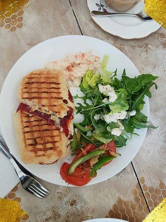 Panini with fresh salads and homemade sauce.