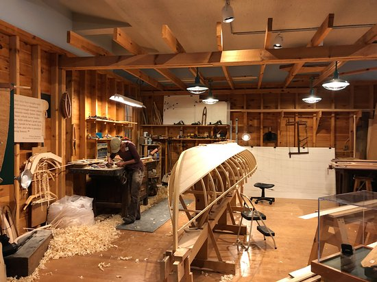 Skip the Line: Adirondack Experience, The Museum on Blue Mountain Lake Ticket: Guide Boat under construction