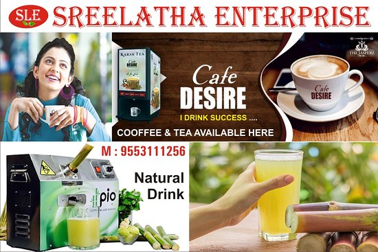 Bellary District, India: YOU will get a fresh healthy Coffee, Tea Green Tea, Lemon Tea, White Malt, Choco Feast, Cappuccino,Badami milk, Tomoto Soup, Fresh Sugar CAne Juice without hand Touch and in different Flavours, If in Minimum Order Quantity you may get it in Home delivery