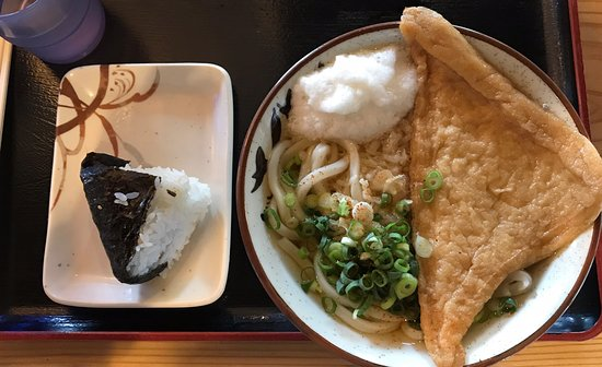 Matsu Seimenjo : かけうどん並、山芋とお稲荷さんトッピング➕おにぎりで大満足❗️