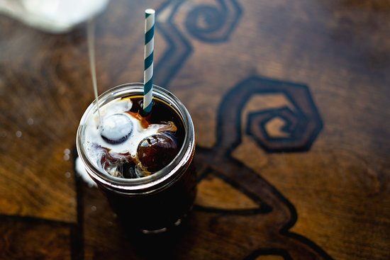 Cold brew coffee with a splash of cream!