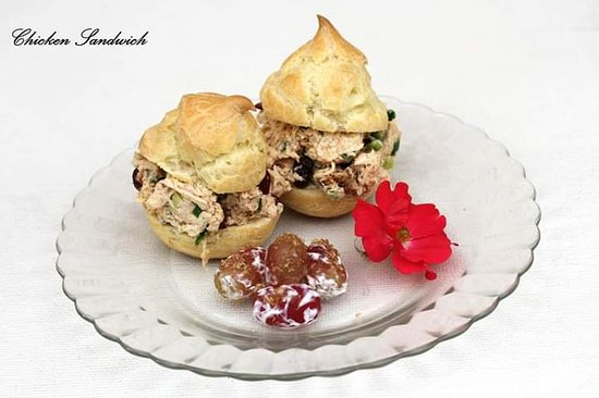 Chicken salad served on cream puffs