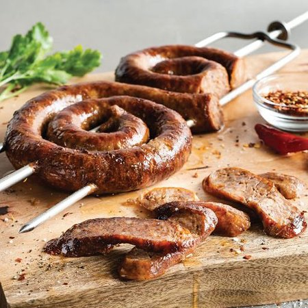 Linguica- Spicy pork sausage with savory garlic, onion with red chili.
