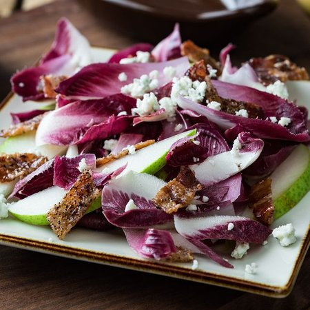 Pear & Endive Salad - seasonal pears, red and gold endive with blue cheese, candied bacon and pear vinaigrette
