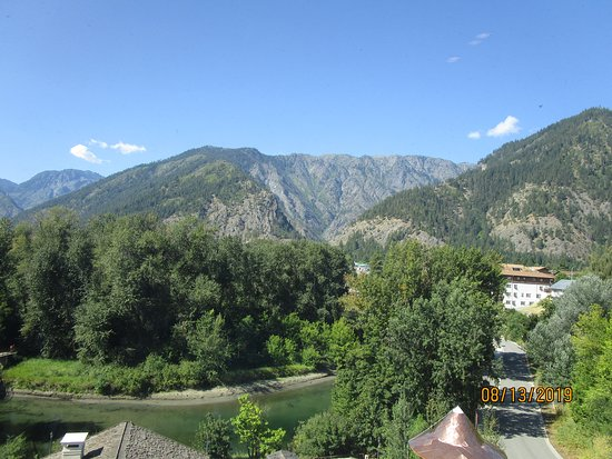 View from the elevator! Wenatchee River in the foreground, Blackbird Island in the middle, Cascades in the background