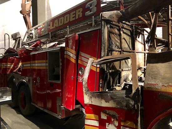 NYC 9/11 Memorial Official Tour: Damaged Fire Engine