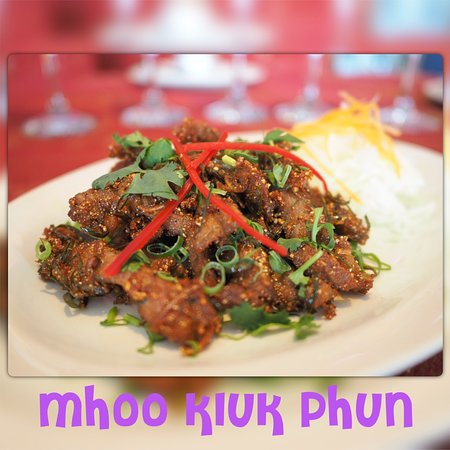 Spicy sour deep fried pork tossed with ground chilli and thai herbs