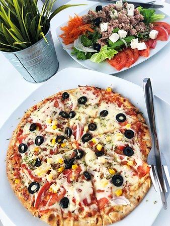 Pizza, tuna and feta cheese salad!