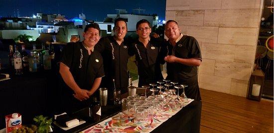 Jose, Angel, Hugo and Frank working the Martini Bar