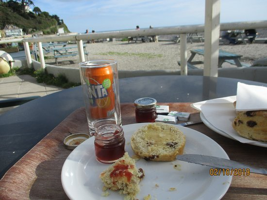 Scone and butter/jam at Seaton Beach Café.
