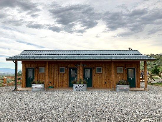 Shared bath house at Conestoga Camp