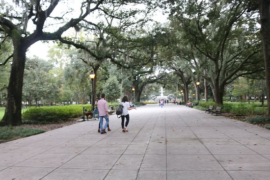 Wide sidewalks and Live Oaks.