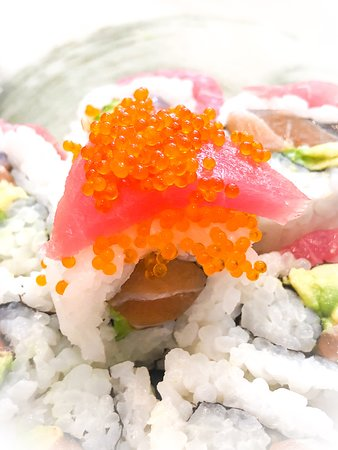 Tobiko on Cherry Blossom roll