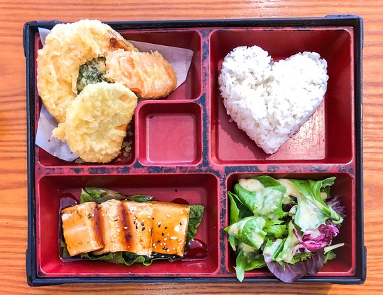 Bento box lunch special with tofu teriyaki and vegetable tempura