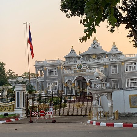 The presidential residence opposite the temple.