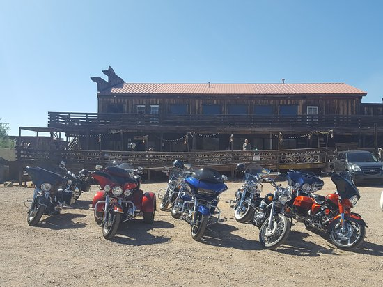 Not exactly a biker gang, but it was fun to see them parked in front of the horse hitching posts.