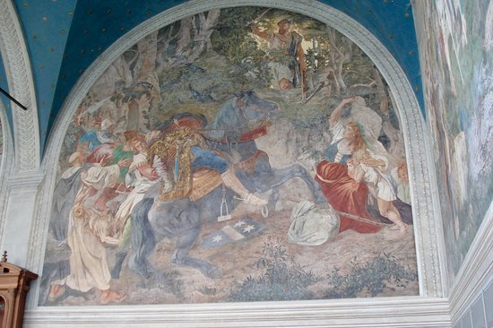 Sisikon, Schweiz: One of the paintings depicting legend Wilhelm Tell with his crossbow.