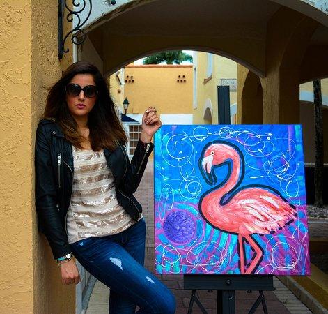 Flamingo Painting by Miami artist Laelanie Larach at Laelanie Art Gallery located in Doral Florida
