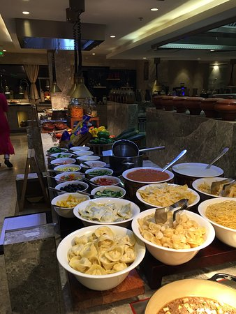 a lot of choices for the buffet dinner