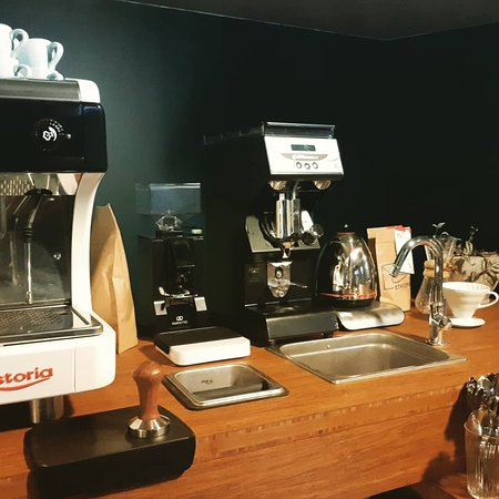 espresso bar with selected coffees and teas