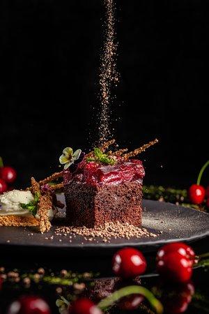 Chocolate cherry cake with cream cheese