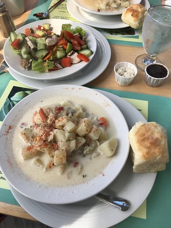 Seafood Chowder with cream and salad