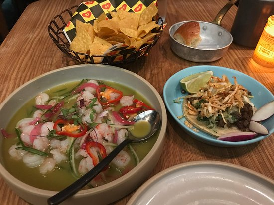 Aquachile and Kogi Short Rib Tacos, nachos