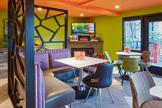 Colorful and comfortable lobby space for guests to enjoy
