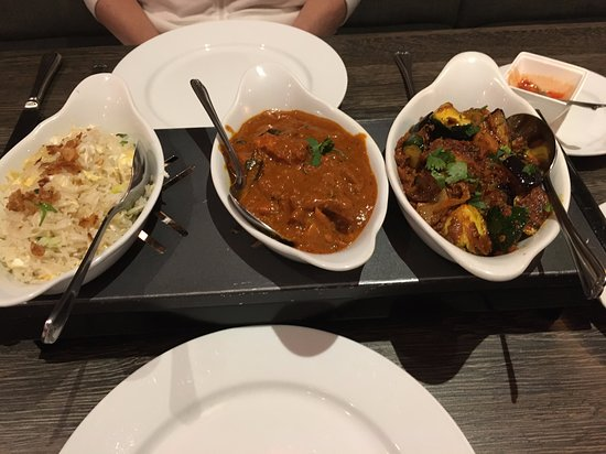 Chicken curry fried rice and aubergine/ curry