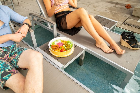 Our famous Fried Avocado Salad is the perfect dish at Azul Rooftop Pool.