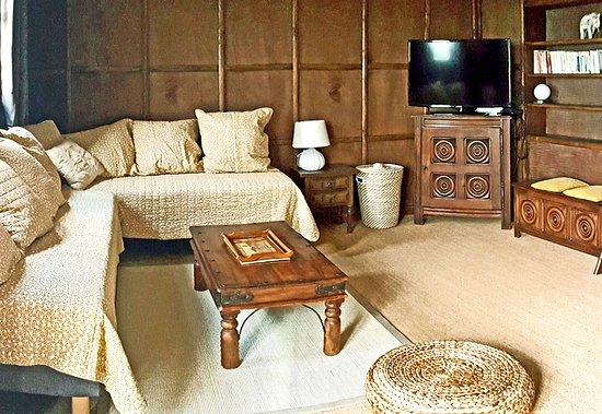 Salon salle à manger avec lits en banquette, bibliothèque et TV écran plat
