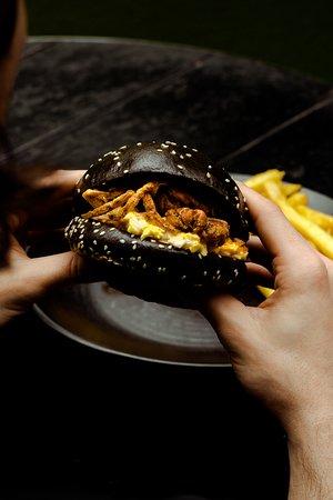 Softshell crab burger with Asian slaw.