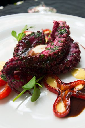 Did you know there is a PURPLE OCTOPUS?  It's true! If you cook an octopus for 8 hours in Sous-vide (a way of preparing food by vacuuming and cooking for a long time at low and controlled temperatures), then marinate it in betroot juice, port wine and Mediterranean spices for 24 hours, your octopus will turn purple 🤩  We serve it with celery pure, orange mayonnaise, grilled pepper and octopus demi-glace.