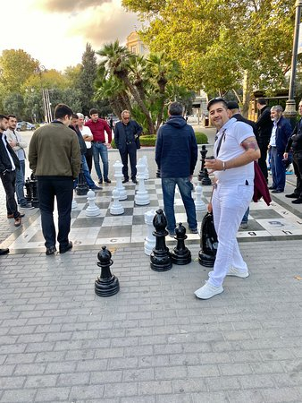 Giant size chess games which locals are playing