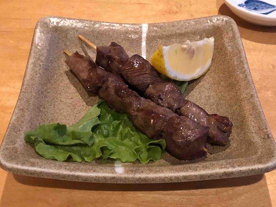 tender, delicious beef tongue on skewers