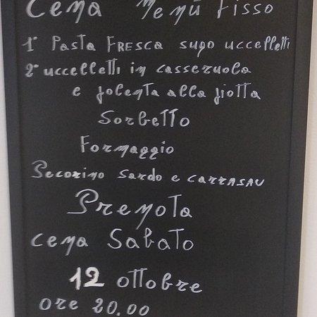 Monguzzo, Italië: 1' Pasta fresca con sugo di cacciagione 2' uccelletti in casseruola e polenta alla piotta Sorbetto Formaggio Pecorino sardo e pane carrasau Sabato 12 ottobre ore 20.00 Prenotati 3386518385