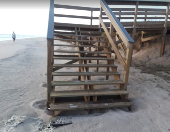 Canaveral National Seashore Parking Area 11 Stairs to Beachside after the erosion from Aug. Sept. 2019 storms by Florida East Coast Surf Fishing
