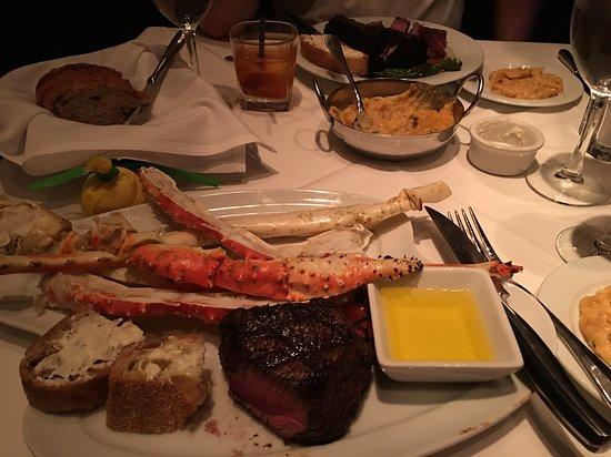 Fillet with King Crab, loaded mashed potatoes, NY strip
