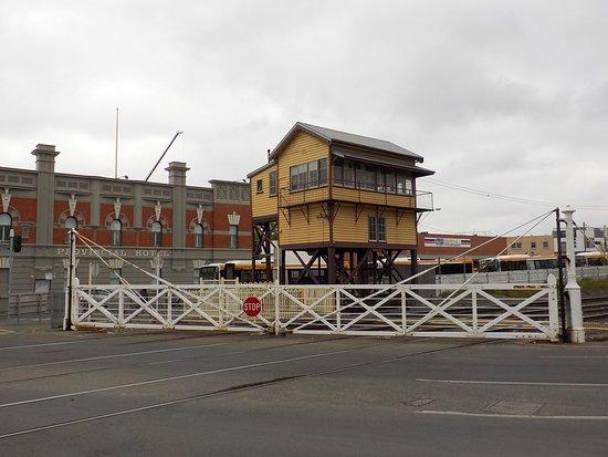 old railway gates and signal box